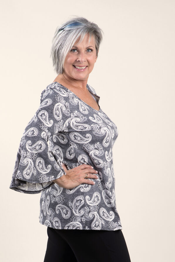 Ruffle Sleeve Top with Puff Print, Black, original image number 1