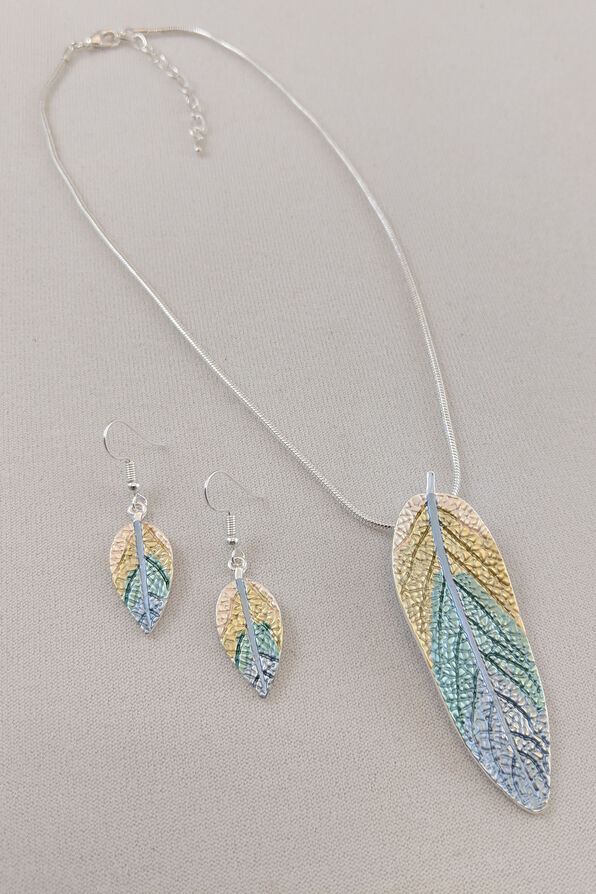 Metallic Leaves Necklace and Earrings Set, , original image number 1
