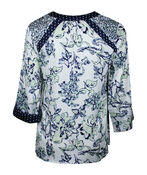 Floral and Polka Dot Roll Sleeve Top , Multi, original image number 1