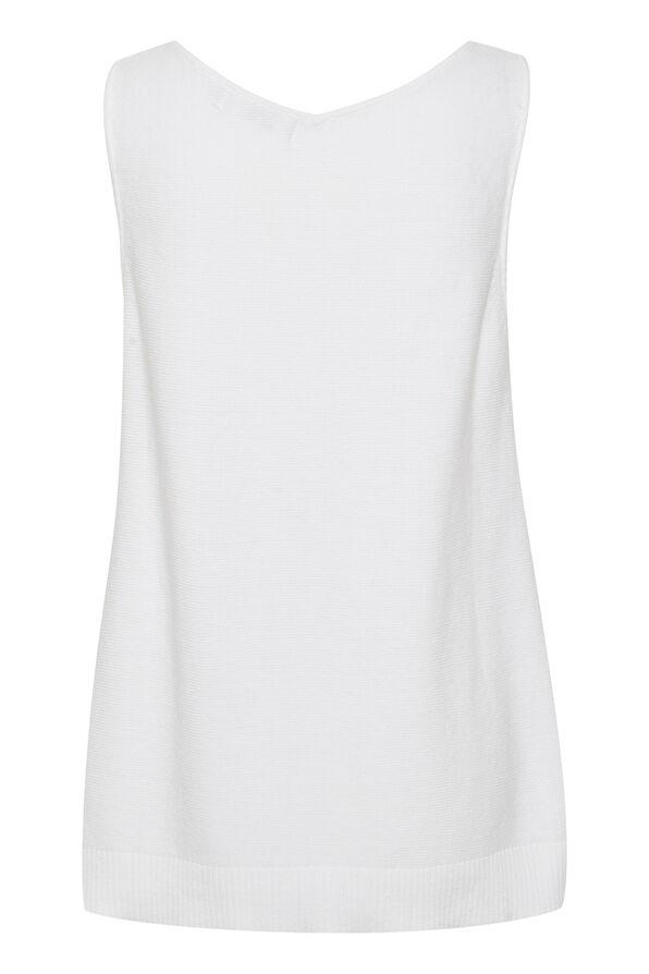 Cream Sillar Double V-Neck Sweater Tank, White, original image number 1