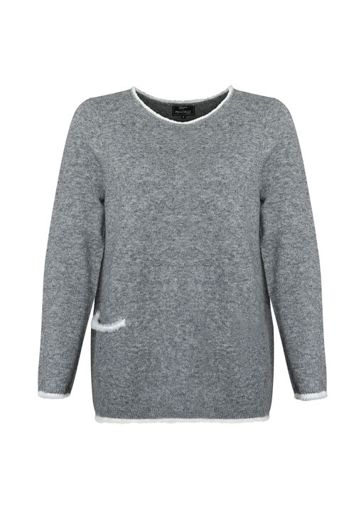 Eyelash Trim Sweater with Scarf, Grey, original