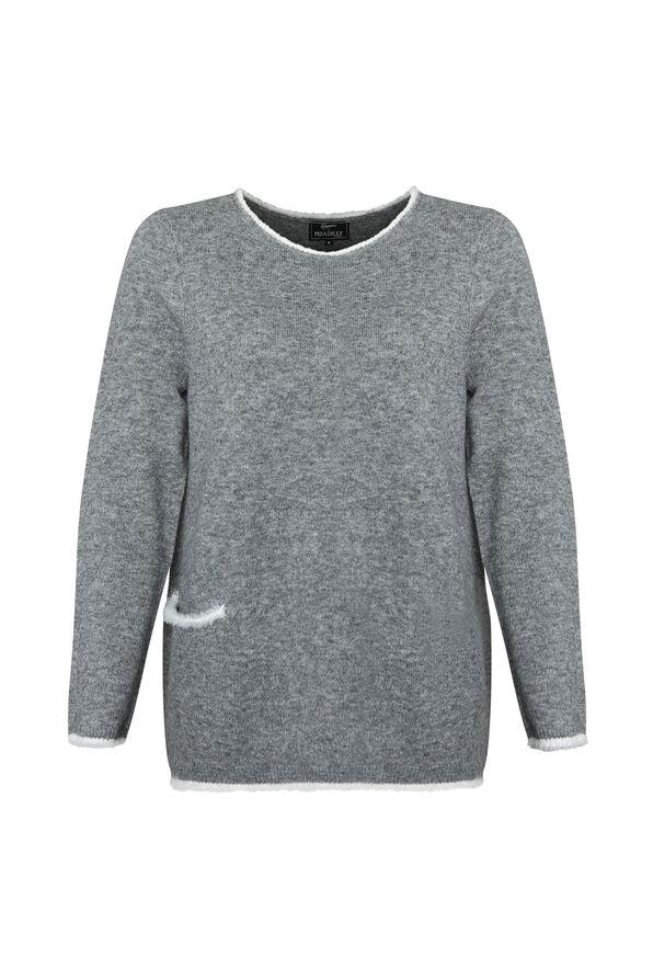Eyelash Trim Sweater with Scarf, Grey, original image number 1