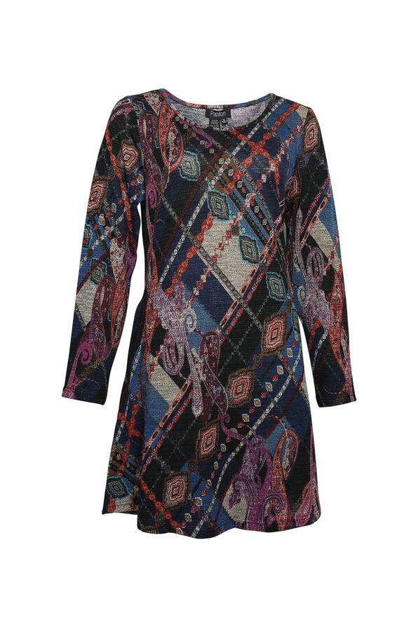 Yvette Long Sleeve Swing Dress, Blue, original image number 0
