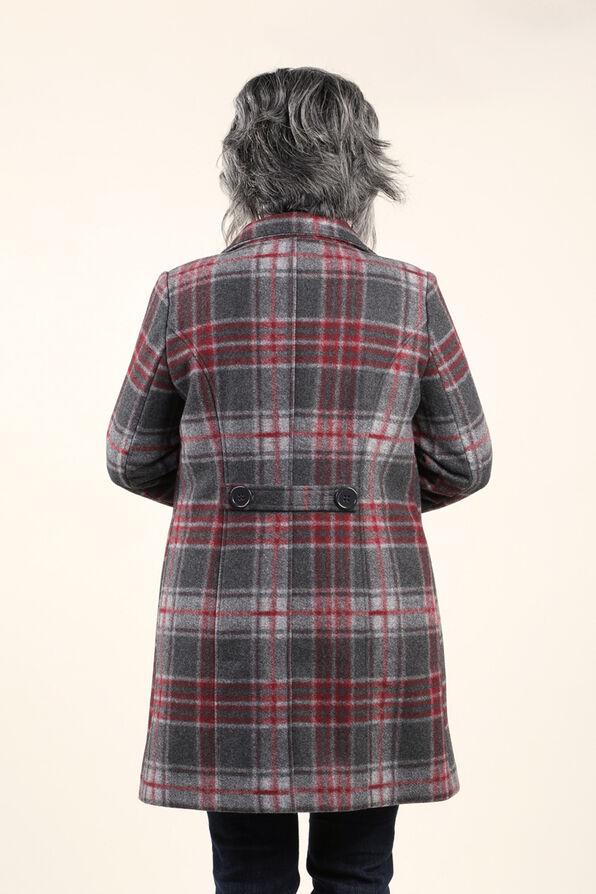 Brushed Faux Wool Coat, Red, original image number 1