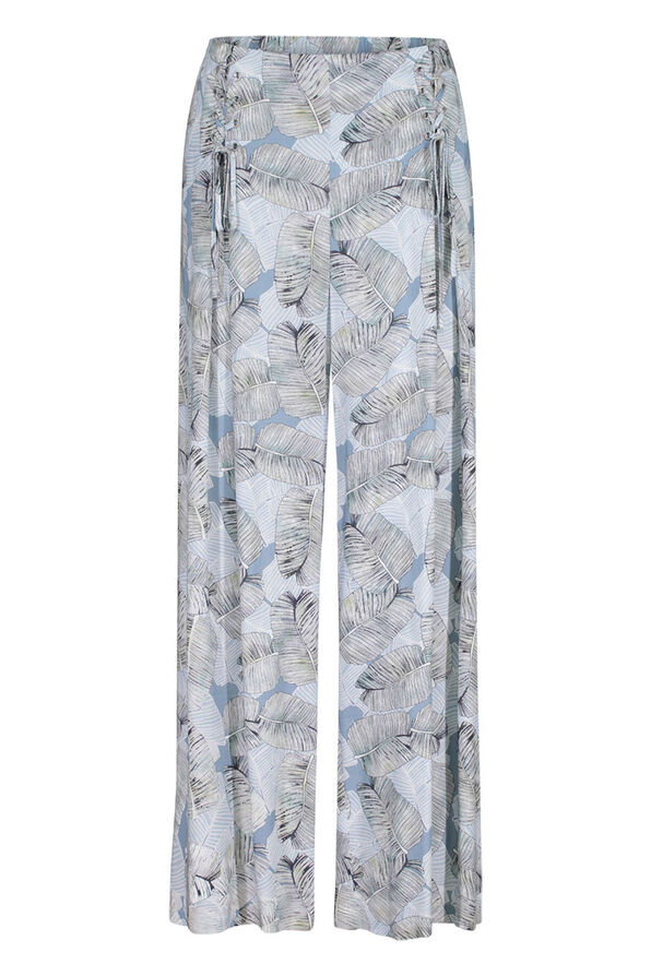Tribal Laced Front Leaf Print Crop Palazzo Pant, Blue, original image number 1