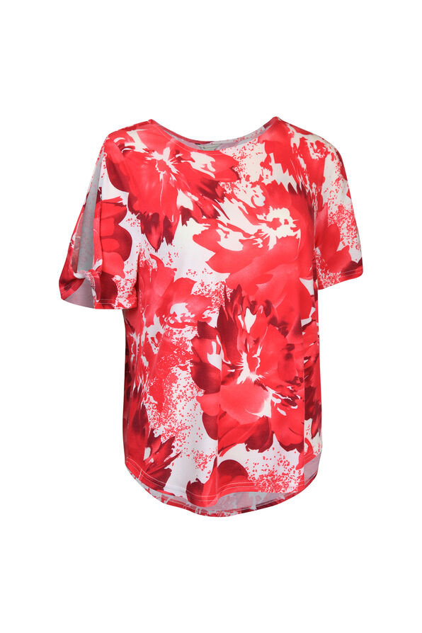 Printed Short Sleeve Top with Slit and Twist, , original image number 2