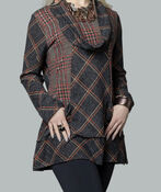 Plaid Tunic with Cowl Neck , Multi, original image number 2