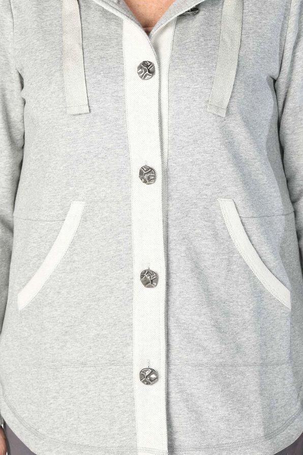 Beaming Button Hoodie, Grey, original image number 2