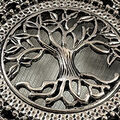 Tree Pendant Keychain, Silver, swatch