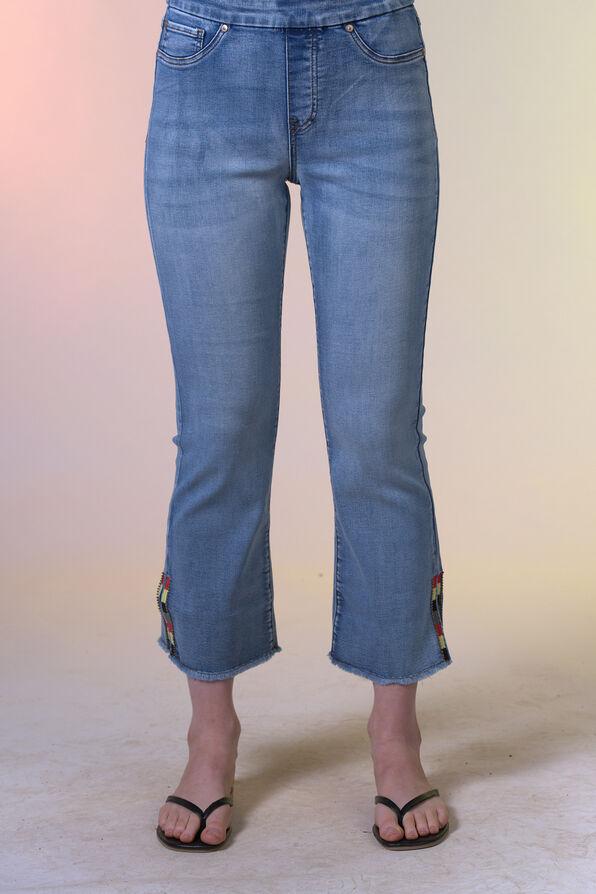 Embellished Cut-Off Cropped Wide Leg Jean, Blue, original image number 4