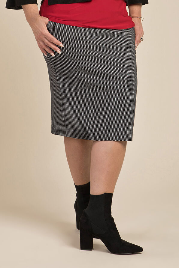 Polka Dot Pencil Skirt, Black, original image number 0