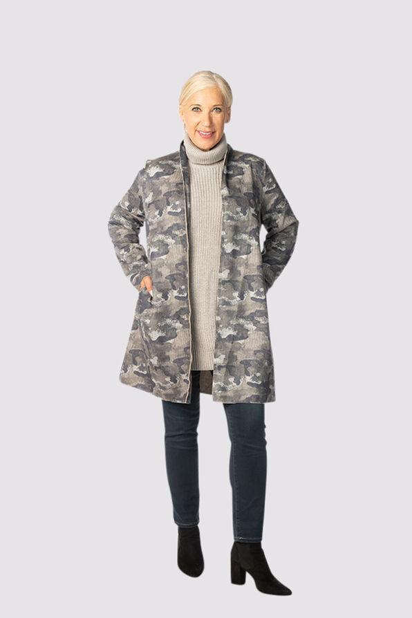 Camouflage Suede Cardi-Coat, Grey, original image number 0