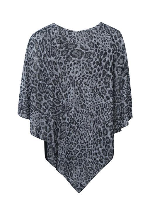 Leopard Print Glitter Poncho, Black, original