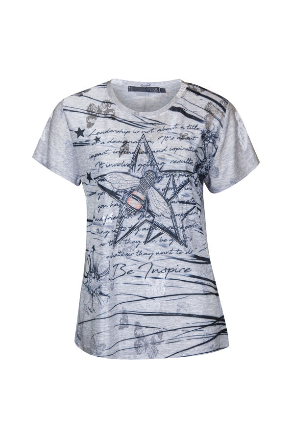Bee Star Rhinestone T-Shirt, Grey, original image number 0