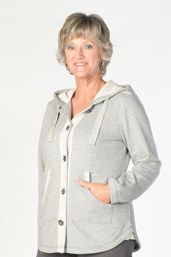 Beaming Button Hoodie, Grey, original image number 0