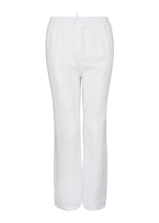 Pull-On Linen Pants with Drawstring , White, original