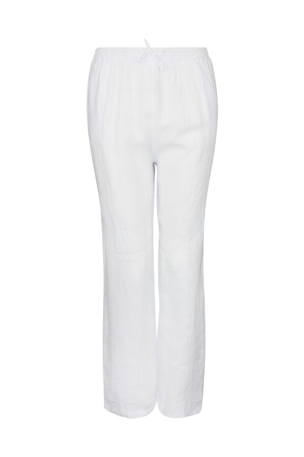 Pull-On Linen Pants with Drawstring , White, original image number 0