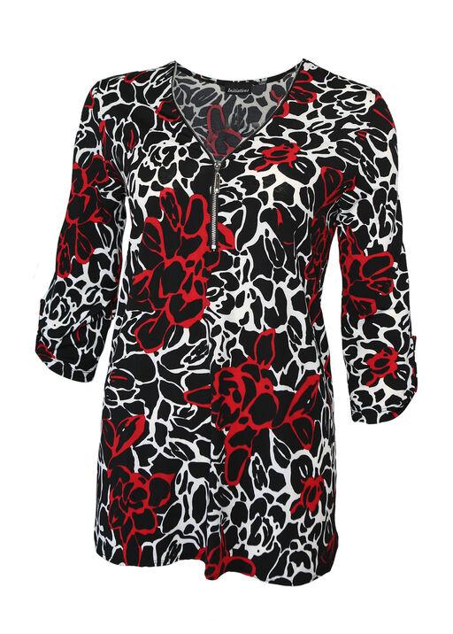 Milana Zip Front 3/4 Sleeve Top, Black, original