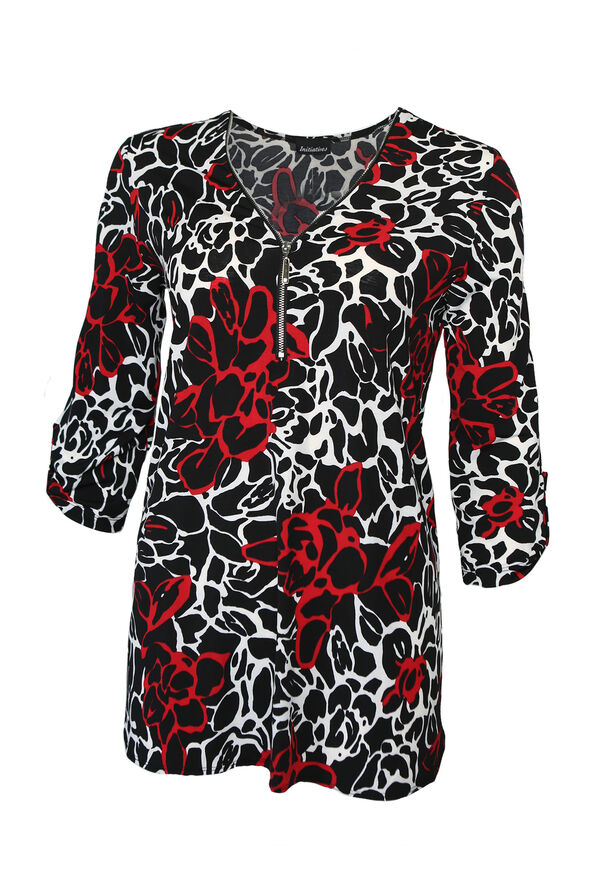 Milana Zip Front 3/4 Sleeve Top, Black, original image number 0