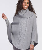 CABLE KNIT COWL NECK PONCHO CAPE, Grey, original image number 0