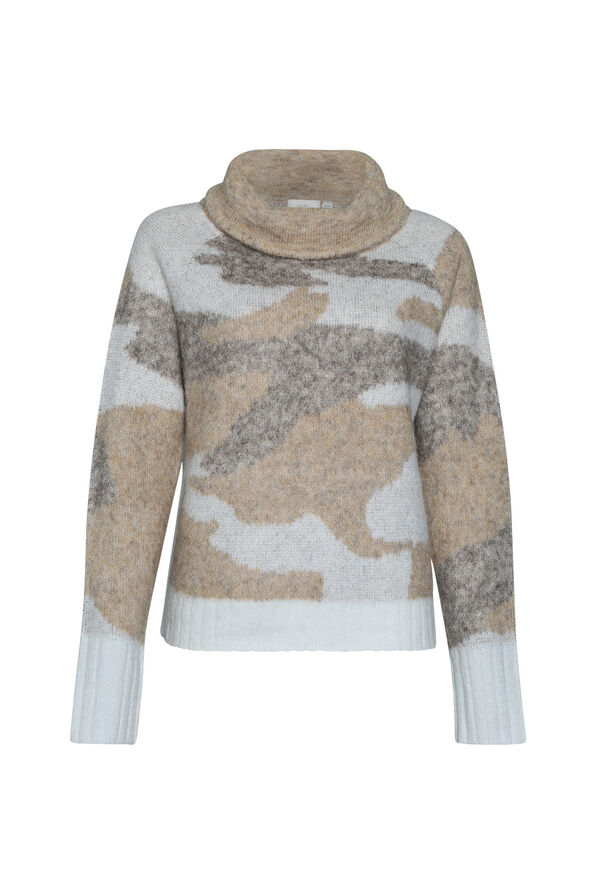 Camo Funnel Neck Sweater, , original image number 1
