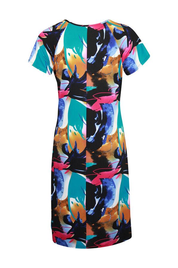 Short Sleeve Swing Dress with Grommet Laced Shoulder, Turquoise, original image number 1
