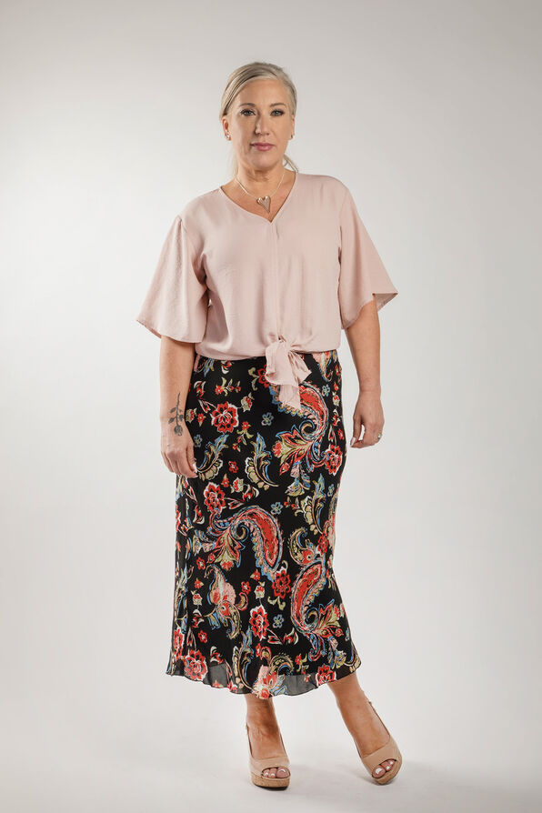 Paisley Chiffon Skirt, Black, original image number 2
