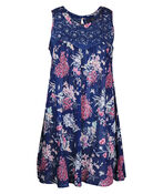 Lace and Floral Sleeveless Tunic, Navy, original image number 0