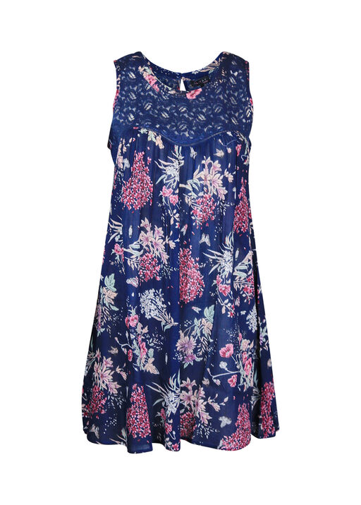 Lace and Floral Sleeveless Tunic, Navy, original