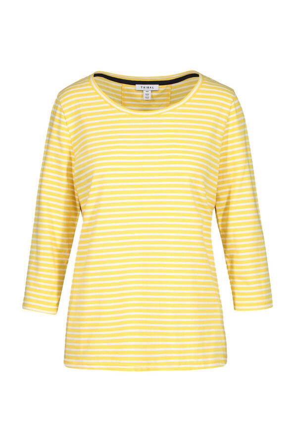 Striped 3/4 Sleeve Top With Criss Cross Back, Yellow, original image number 0