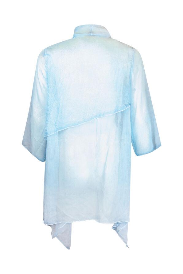 Drape Front Chiffon Cardigan, Turquoise, original image number 1
