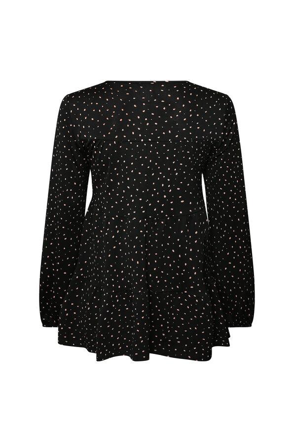 Dalmatian Print Peasant Blouse, Black, original image number 1