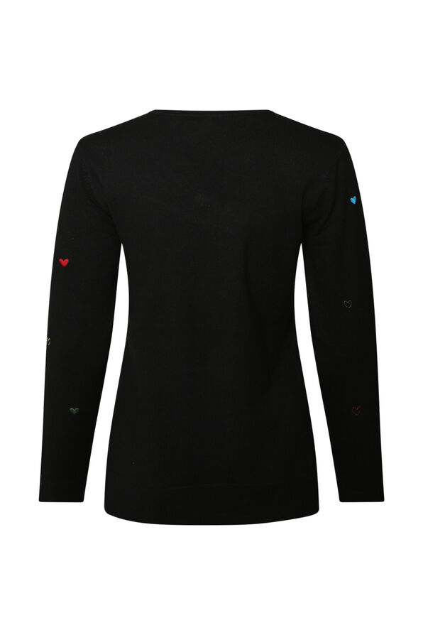 Heart Desire Long Sleeve Sweater, Black, original image number 1