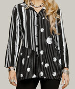 Striped Printed Button-Up Long Sleeve, Black, original image number 2