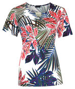 Tropical Print Short Sleeve Top with Notch Neck, Ivory, original image number 0