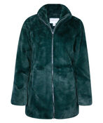 Faux Mink Jacket with 2 Way Zipper, Green, original image number 0