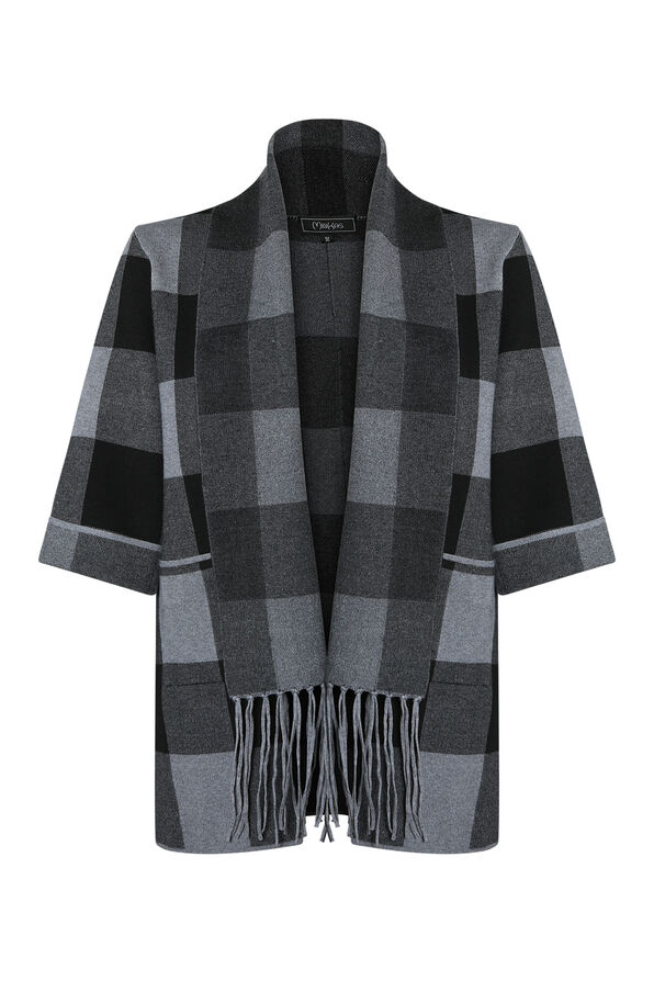 Plaid Cardigan with Attached Scarf, , original image number 0