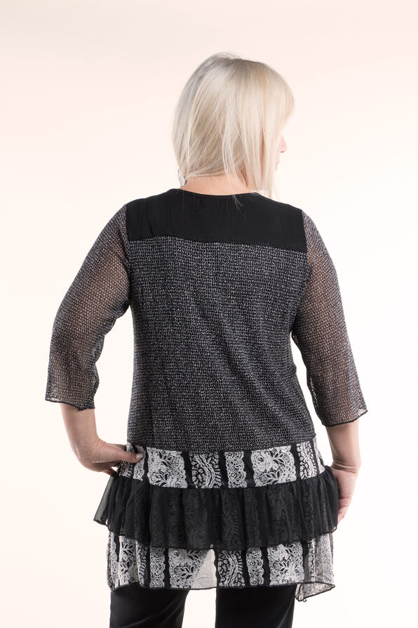 Funky Lace and Ruffle Tunic, Grey, original image number 1