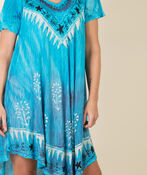 Short Sleeve Embroidered Trim Swing Dress, Turquoise, original image number 1