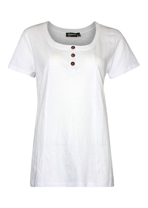 Cotton Short Sleeve T-Shirt with Coconut Buttons, White, original