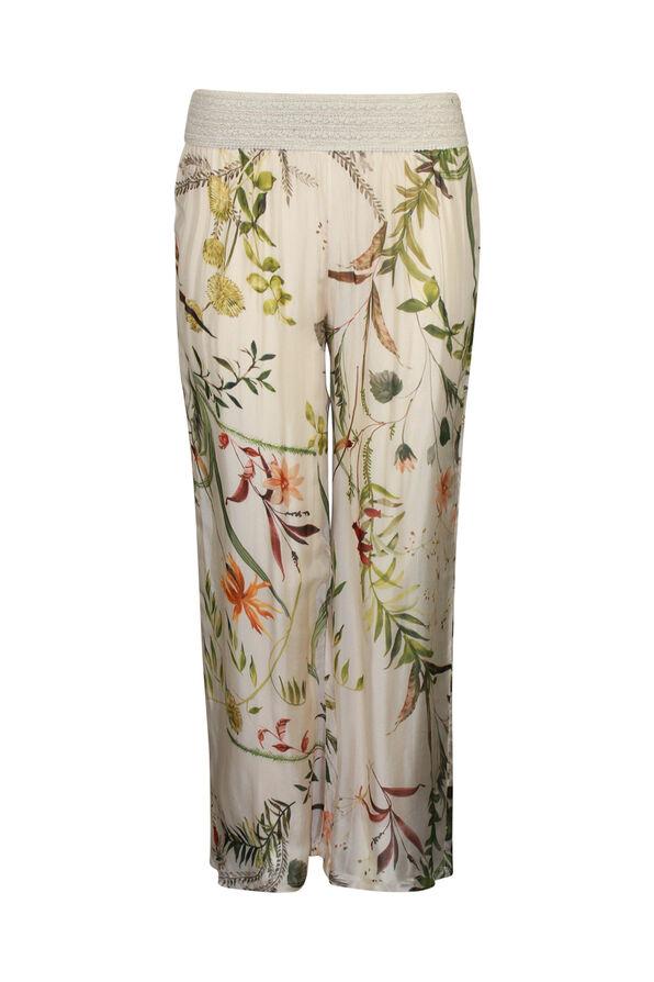 Floral Print Silk Wide Leg Pant , , original image number 0