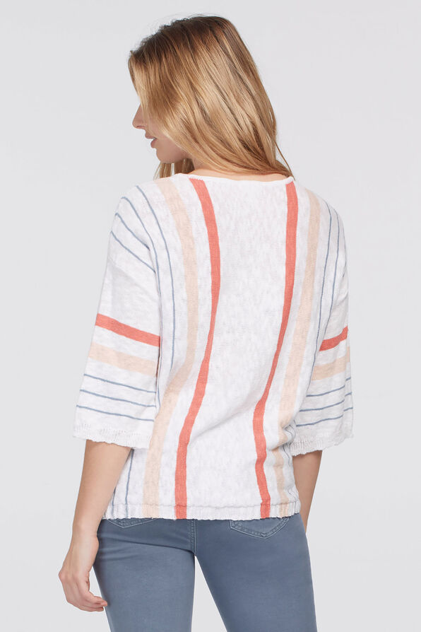 Summery Striped Knit Top, White, original image number 1
