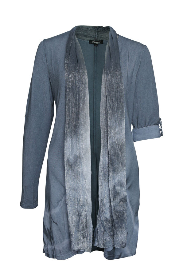 Dip Dye Cardigan, Denim, original image number 0