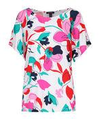 Flutter Sleeve Floral Print Top, Multi, original image number 0