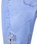 Pull-On Audrey Denim Shorts with Laced Detail, Blue, original image number 2