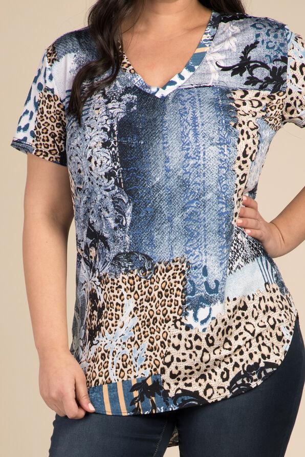 Denim Leopard Top, Indigo, original image number 1