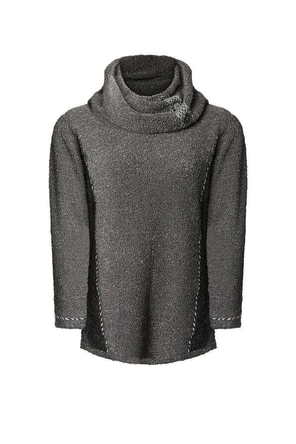 Cowl Neck Boucle Sweater with Button Detail, , original image number 0