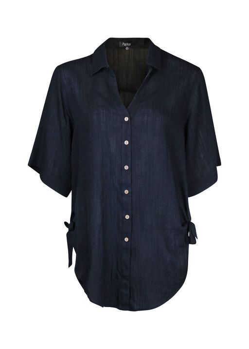 Button Front Blouse with Side Ties Hi-Lo Hem, Black, original
