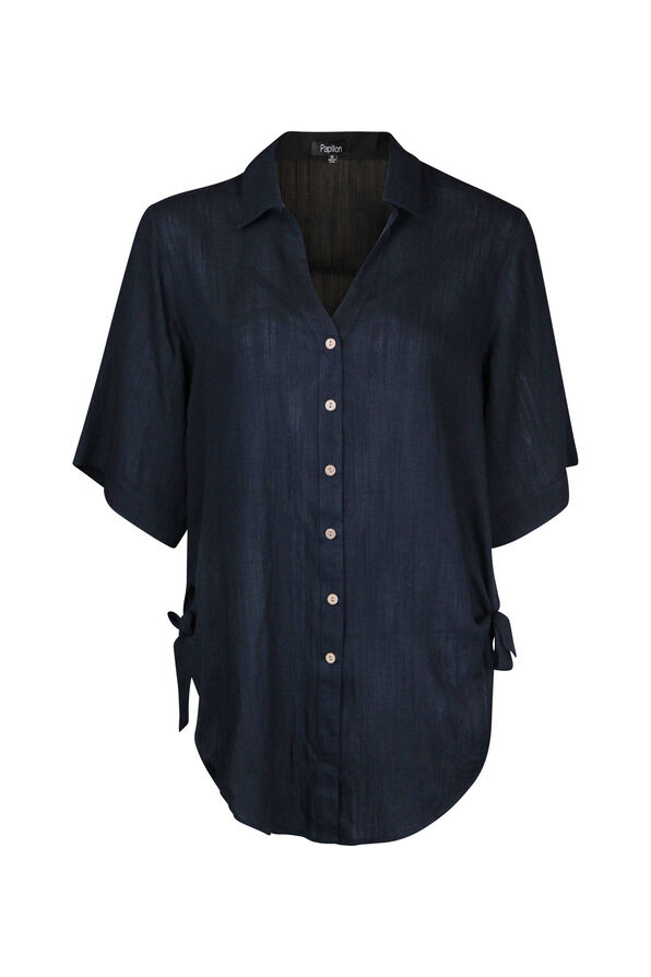 Button Front Blouse with Side Ties Hi-Lo Hem, , original image number 1
