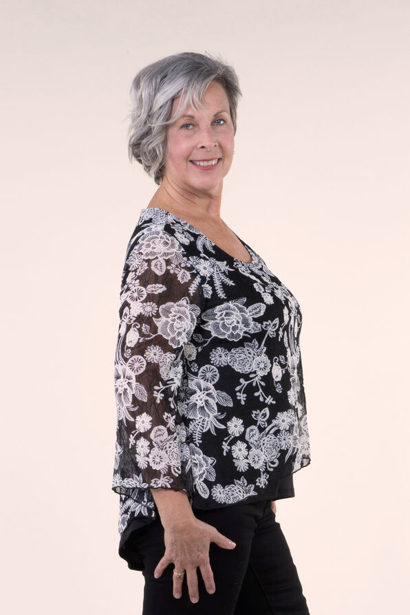 Lace Top with Flared Sleeves, Black, original image number 2